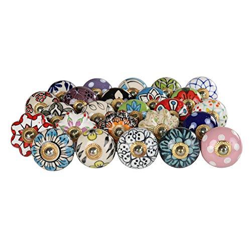 Türgriffe - Keramikknöpfe Set mit 25 mehrfarbigen Schrank- und Innenausstattungsausstattungen Handgearbeitete Schubladengriffe Küchentür Garderobenbeschläge Kommode Blaue Keramik-Blumenschubladen