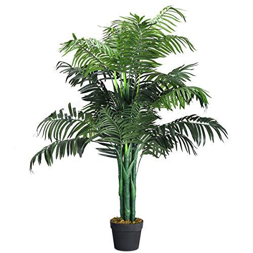 COSTWAY Zimmerpalme Palme Kunstpflanze Kunstbaum Zimmerpflanze Dekopflanze künstlich Größewahl (110cm hoch)