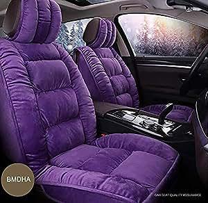 Coprisedili Auto Inverno Mantieni Caldo Breve Peluche + Seta Nuvola Morbido e Confortevole Cuscino del Sedile 5 posti Modello Universale,Purple
