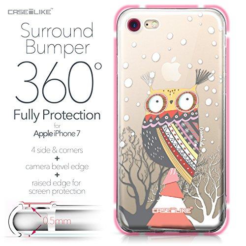 CASEiLIKE iPhone 7 Hülle, iPhone 7 TPU Schutzhülle Tasche Case Cover, Comic Beschriftung 2914, Kratzfest Weich Flexibel Silikon für Apple iPhone 7 Eule-Grafikdesign 3317