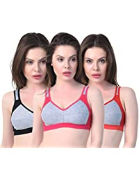 09ad7fafe6c4b The Bra Man Fitness Workout High Impact Sports Bra for Women s Combo (Pack  of 3