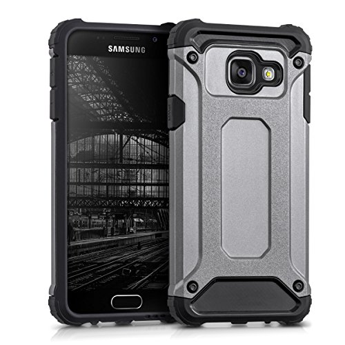 kwmobile Hybrid Outdoor Hülle für > Samsung Galaxy A3 (Version 2016) < mit Transformer Design - Dual TPU Silikon Hard Case Handy Hard Cover in Anthrazit Schwarz
