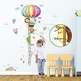 Decowall DM-1606 Gráfica de Altura de Globo Aerostáticos de Animales Vinilo Pegatinas Decorativas Adhesiva Pared Dormitorio Salón Guardería Habitación Infantiles Niños Bebés