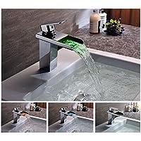 Auralum® Romantic Luminous Bathroom Sink Taps Waterfall