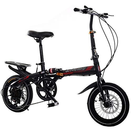 AOHMG Faltrad Klapprad Licht Klapprad Fahrrad, 6-Gang Klappräder Folding Bike,Black_14in