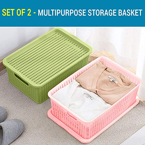 TIED RIBBONS Set of 2 Flexible Plastic Tapered Hollow Basket Container Organizer Storage Box with Lid for Clothes Bathroom Kitchen Vegetables and Fruit Storage (36X11X22 cm, 8 LTR)