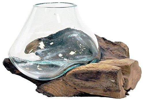 Beho Natürlich gut in Holz Glas 1 auf Teak 2833 tolle Geschenkidee Durchmesser ca. 15-20 cm Wurzelholz mundgeblasen