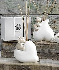 Idea Regalo - Profumatore Orsetto su cuore in porcellana cm.13 con elegante scatola Bomboniera Regalo