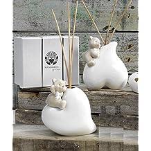 Profumatore Orsetto su cuore in porcellana cm.13 con elegante scatola Bomboniera Regalo