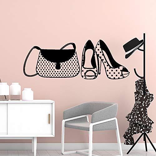 Crjzty Romantische Tasche Schuhe Wandkunst Aufkleber Dekoration Mode Aufkleber Für Kinderzimmer Dekoration Wandbild Benutzerdefinierte Schlafzimmer Wandaufkleber 57 * 21 cm (Benutzerdefinierte Gedruckte Taschen)