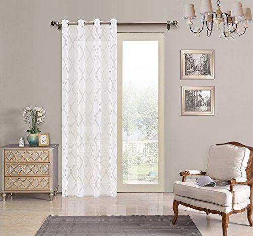 Tende trasparente con 8 ollao (1 pannello, 140 x 260 per soggiorno e camera. tende di 140_x_260_cm (biando). modello helen