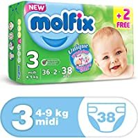Molfix Anti Leakage Comfortable Midi Baby Diapers, 4-9 kg, 38 Count (5047415)