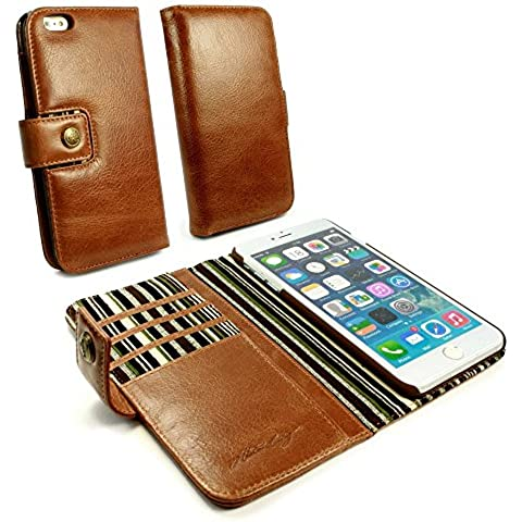 Alston Craig Custodia portafoglio di pelle genuino Vintage per Apple iPhone 7 (con protettore di schermo) - Maronne