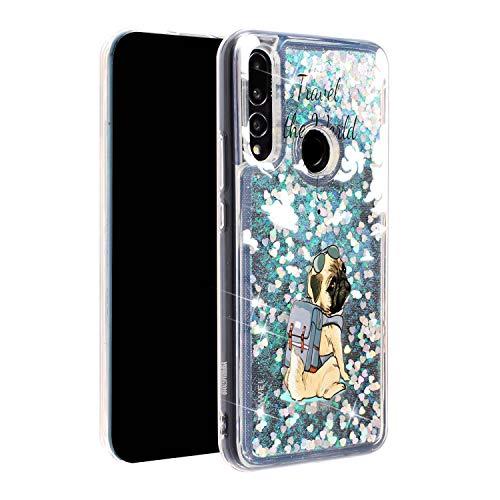 Miagon Flüssig Hülle für Huawei P Smart Z,Glitzer Weich Treibsand Handyhülle Glitter Quicksand Silikon TPU Bumper Schutzhülle Case Cover-Hund