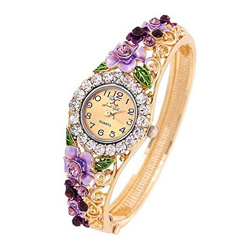 Jewels Galaxy Copper Analogue Brown Dial Girls And Women's Watch Bracelet