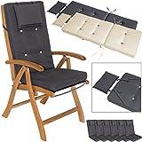 Detex® Stuhlauflagen | 6er Set Kopfkissen Rückhaltebänder | Sitzkissen Stuhlkissen Kissen Hochlehner Auflage Sitzauflage Anthrazit