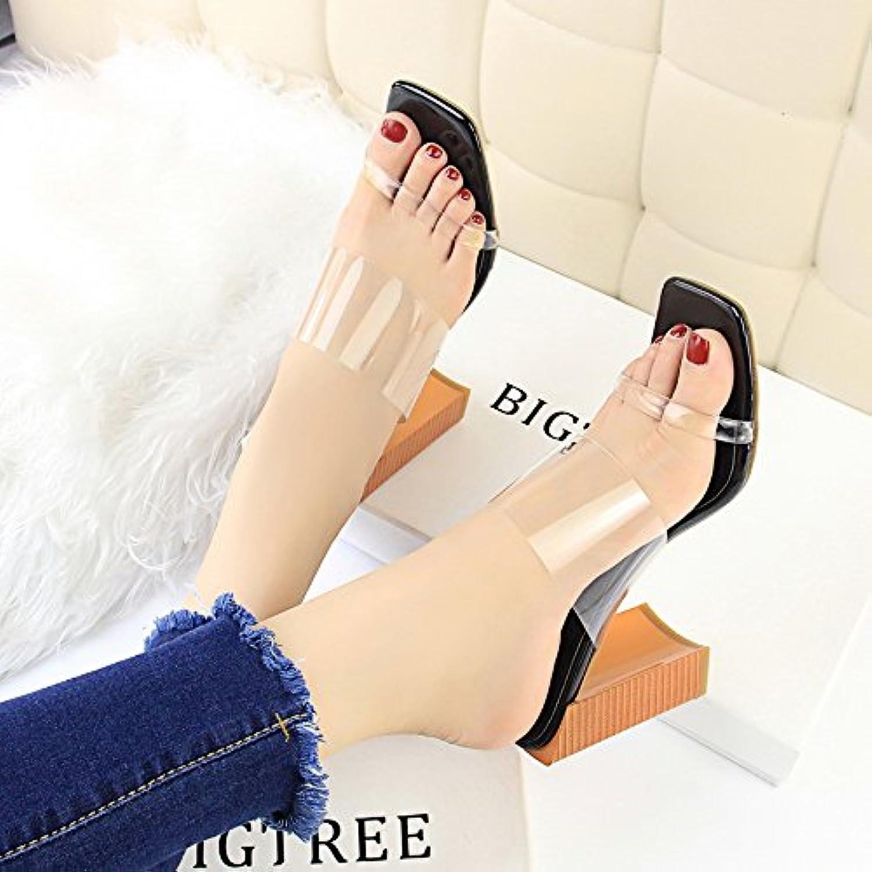 Zapatillas frescas, grano de madera en mujeres de moda con zapatillas transparentes con tacones altos y tacones...
