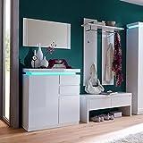 DES Garderoben Set 4-teilig OZEANA Flurmöbel, Garderobenset Hochglanz weiß, Schuhschrank mit LED, Garderoben Bank, Wandpaneel und Spiegel 90x68cm #15180