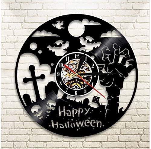 Wanduhr Schallplatte Uhr Halloween Party Zombie Hand Ghost Skull Wandkunst Dekor Mit Led Licht 12 Zoll