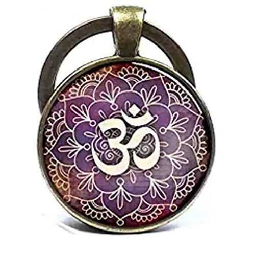 Om Llavero con símbolo de Om llavero de Namaste Zen llavero de yoga llavero joyería budista joyería