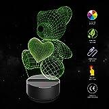 Bär 3D Illusion Lampe,COLORFUL 3D Optical Illusion Lampe LED Nachtlichter, 7 Farbwech Einzigartige Lichteffekte,für Kinder Geschenk Home Decor