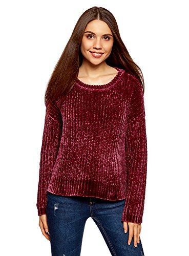 oodji Ultra Damen Chenille-Pullover mit Rundhalsausschnitt, Rot, DE 38 / EU 40 / M -