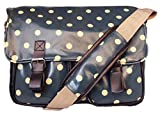 Ladies Oilcloth Polka Dots/Flower/Owl Print Cross Body Messenger Bag Satchel Bag (Polka Dot Navy Blue)
