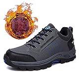 LHY SHOES Sneakers Invernali da Uomo, Scarpe Sportive Traspiranti Calde Peluche Stivali da Trekking in Velluto Trekking Caccia Turismo Mountain Trail Scarpe da Corsa per Ragazzi,Grigio,46