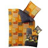 Bettwäsche 135x200 Baumwolle, Trend Adia Karo-Muster grau orange grün Wendedesign aqua-textil 0011787
