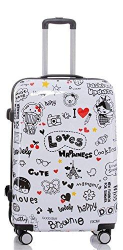 Reise Koffer Trolley mit Polycarbonat ABS Hartschale und Motiv BB (4: 115 Liter - Gr. XL, Happiness)