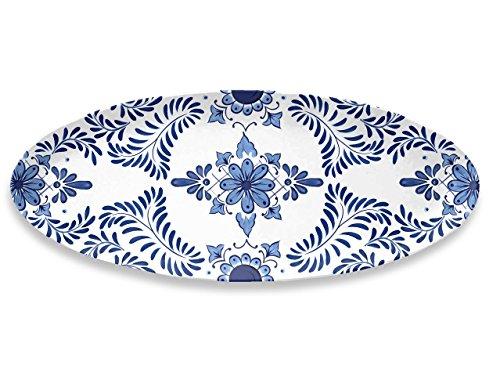 Emporio Zani Touch Mel Santorini Plateau Ovale 100% Melamine Couleur Blanche et Bleue