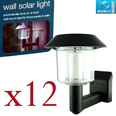 Outdoor Solar Wall Lights - Pack Of 12 - Automatic Sensor On/off - All Fixtures Included - No Wirings / Electrics Required - Brand New - low-cost UK wall light store.