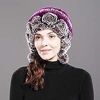 JJHR bonnet Nouveau Style Femmes Chaud Naturel Rex Lapin De Fourrure  Chapeau d hiver Rex d1e30a5fcb9