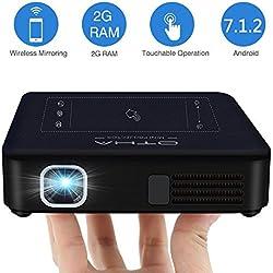 OTHA Mini Projecteur Pico Vidéoprojecteur Portable Retroprojecteur 200ANSI Lumens, Android 7.1 DLP Projecteur 2Go RAM Home Cinéma 1080P 4K, WiFi HDMI Projecteur pour Fête/PS4/Camping