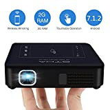 Mini Beamer 200ANSI Lumens, OTHA Videoprojektor 2GB RAM, Android 7.1 DLP LED Projektor Tragbares Heimkino, Dual Wifi Bluetooth 4.0, Unterst�tzung 4K Video, HDMI-Eingang f�r iPhone Smartphone PC Laptop Bild