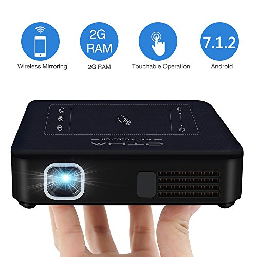 Mini Beamer, OTHA Videoprojektor Android 7.1, 200 ANSI Lumens DLP LED 2GB RAM Projektor Tragbares Heimkino, Dual Wifi Bluetooth 4.0 Pocket Projector, HDMI-Eingang Beamer für iPhone/PC/4K/Full HD