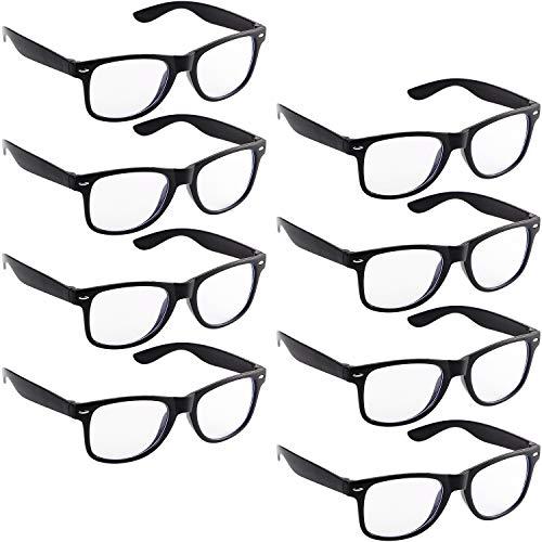 Frienda 8 Stücke Kostüm Nerd Brille 80 Jahre Stil Vintage Stil Schwarze Rahmen Brille für Halloween Themen Party