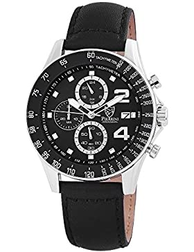 Pierrini Herren Armbanduhr Lederband Chronograph Quarz Schwarz 291121000001