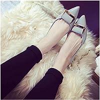 XAH@ Scarpa in pelle brillante luce metallo piatto scarpe a punta , nude pink , 43