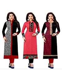 HOC Women's Cotton Pink Kurta - Pack Of 3 (Kurti Combo Print_Free Size)