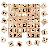 BUONDAC 200 Stk groß und Klein Buchstaben Holz Scrabble Holzbuchstaben Steine Holzblock Scrabblefliesen Zum Spielen Scrabblesteine für Handwerk Dekoration Scrabblesersetzer