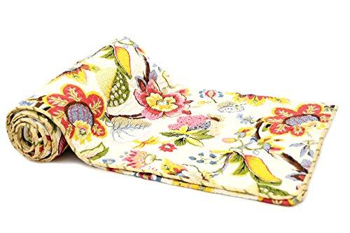 1001 Wohntraum 17JN21 Quilt Bella Blumen bunt, 220 x 230 cm, Plaid Tagesdecke, Vintage Sha