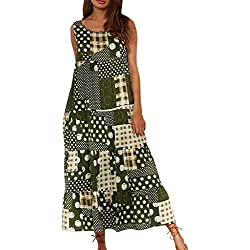 Maxi Robe Femmes,Bohème Floral San Manches Coton Lâche Poche Caftan Longue Robe de Plage Bringbring