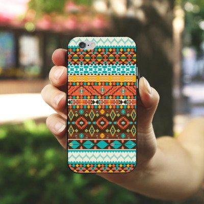 Apple iPhone 5s Housse Étui Protection Coque Rétro Ethnique Motif Aztèques Housse en silicone noir / blanc