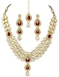 karatcart 22K Goldplated Red Stone Kundan Jewellery Set For Women