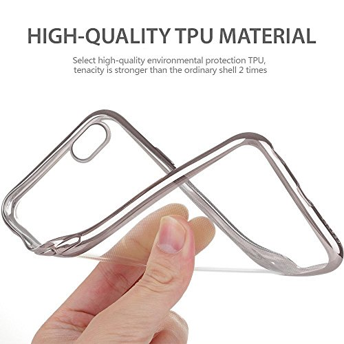 iPhone 6S Case, Cellto Thin TPU [0.33 mm] [Precision Fit] Soft Flex [Anti Slip] Silicone Cover for Apple iPhone 6S / iPhone 6 - Clear Glitter Silber Border