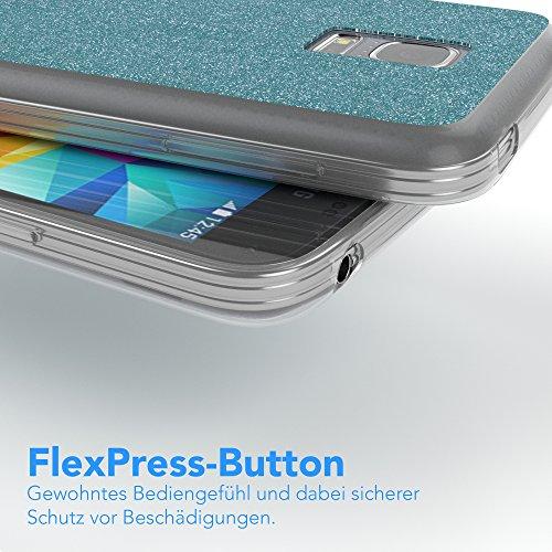 Samsung Galaxy S5 Mini Hülle - EAZY CASE Handyhülle - Ultra Slim Glitzer Schutzhülle aus Silikon in Gold Glitzer Hellblau