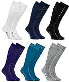 Rainbow Socks - Donna Uomo Colorate Calzini Lunghi Al Ginocchio di Cotone - 6 Paia - Bianco Grigio Negro Blu Blu Marino Porporaa - Tamaño UE 36-38