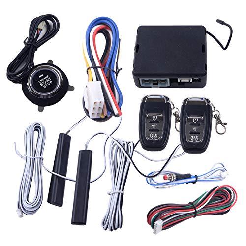 beler 9 Stück 12V Auto PKE Passive Keyless Entry Push Button Remote Starter Engine Start Stop Alarm System Set