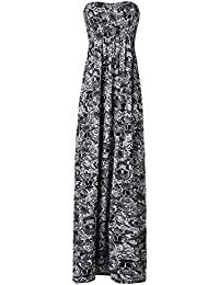 Crazy Girls Red Olives Womens Bandeau Boobtude Gathered Sheering Strapless Long Maxi Dress